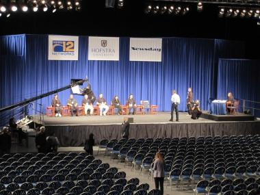 Organizers at Hofstra University in Long Island prepare for Monday night's gubernatorial debate.