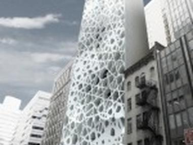 An artist's impression of the futuristic mosque and religious center planned for near Ground Zero.