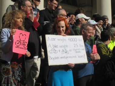 Advocates rallied at City Hall in support of the bike lane extensions.