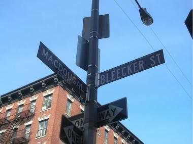 The corner of Bleecker and MacDougal Streets, where two men were shot during an apparent drug deal on Monday night.