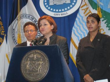 City Council Speaker Christine Quinn, joined by council members James Vacca and Diana Reyna before Tuesday's stated meeting.