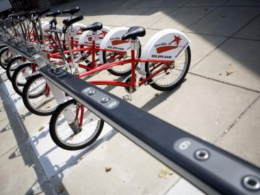 Shared bikes are parked at a SmartBike Washington, DC, which was launched in 2008.