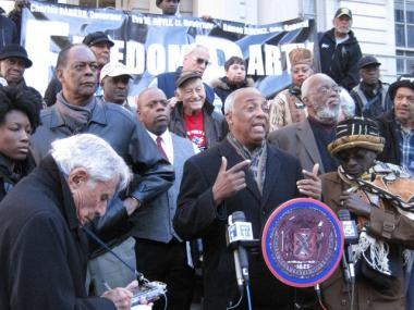 Council member Charles Barron speaks at a protest at City Hall earlier this month over Mayor Michael Bloomberg's decision to appoint Cathie Black as the next schools chancellor.