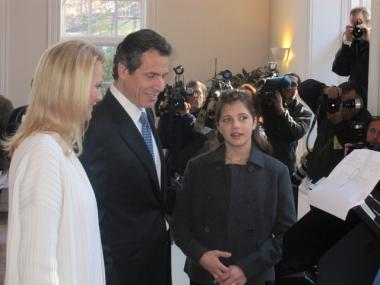 Andrew Cuomo voted in Mt. Kisco Tuesday morning with his girlfriend Sandra Lee and his daughter Michaela.