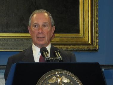 Mayor Michael Bloomberg talked economics at City Hall Monday.