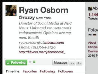 A close-up of the bio section of Twitter user @Rozzy, the first social media director at NBC News. Note the clear description of his job; as well as e-mail and phone contact info.