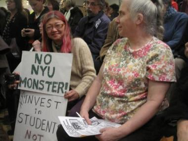 Greenwich Village resident Megumi Williams at the Community Board 2 meeting Monday.