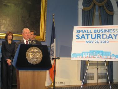 Mayor Michael Bloomberg announced a new initiative aimed at boosting small business sales Monday at City Hall.