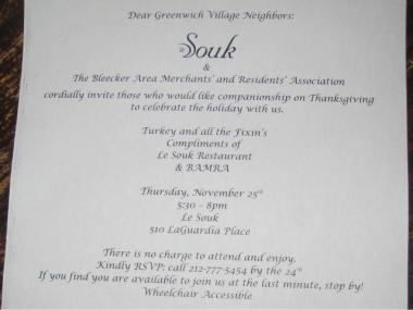 Le Souk started passing out this flyer advertising the dinner late last week and has received 63 reservations so far.