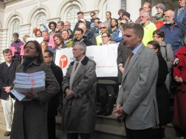 East Harlem Councilwoman Melissa Mark-Viverito (at left) held a stack of 2,500 handwritten letters addressed to Mayor Bloomberg asking that the new First and Second avenue bike lanes be extended up to 125th Street.