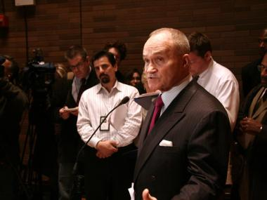 Police Commissioner Raymond Kelly answers questions during a press conference after an anti-terrorism conference at One Police Plaza on Wednesday, Nov. 10, 2010.