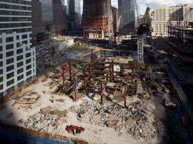The Deutsche Bank building, shown here on Oct. 22, is being demolished floor by floor.