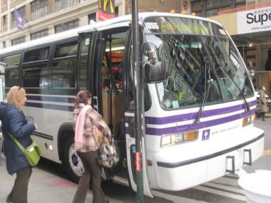 NYU students can now track the route and location of the university's bus fleet in real time on their smartphones and online.