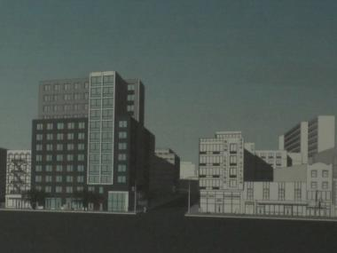 A rendering of the forthcoming development at the corner of Second Avenue and East 1st Street.
