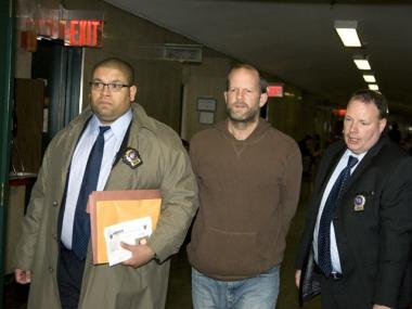 Jack Jordan brought into court to face charges that he violated an order of protection by calling actress Uma Thurman.