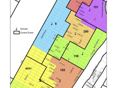Most recent iteration of the Department of Education's plan to redraw Upper East Side School boundaries. The colored blocks represent proposed areas.