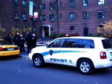 Police investigate a robbery report at Stuyvesant Town Thursday afternoon.