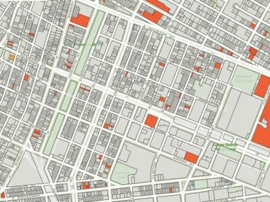 The map from the Health Department shows specific sites on the Lower East Side, marked in red, with signs of rat activity.