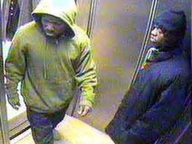 Police say these two men mugged a 90-year-old Harlem man in his apartment building Monday.