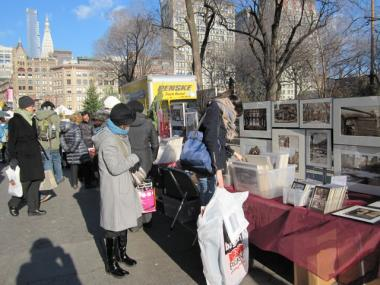 The usual Union Square vendors who set up north of the holiday market in December 2010.