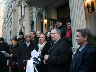 Rep. Charles Rangel, City Councilwoman Gale Brewer, Borough President Scott Stringer and Community Board 7 chair Mel Wymore rallied against a proposed homeless facility on West 94th Street.