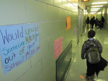 The hallways of Sojourner Truth School were decorated with messages against Harlem Success Academy's expansion.