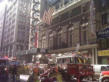 The American Academy of Dramatic Arts had to be evacuated Monday afternoon because of a fire in the basement.