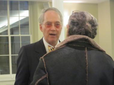 National Arts Club president O. Aldon James mingling at a meeting for the Gramercy Neighborhood Associates, Jan. 26