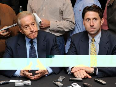 Mets owner and CEO Fred Wilpon (left) and COO Jeff Wilpon speak to press in January about plans to sell part of the team.