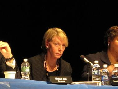 Schools Chancellor Cathie Black listened to criticism from parents, teachers and principals Wednesday night.