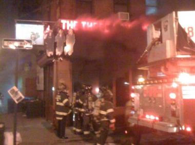 A fire broke out at the restaurant Three Monkeys on the corner of Rivington and Ludlow streets Thursday night.