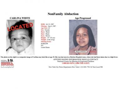 The poster put out by the National Center for Missing & Exploited Children with a baby photo of Carlina White (l.) and an age processed photo (r.).