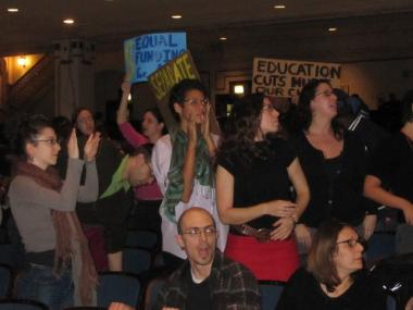 Angry parents booed Chancellor Cathie Black and the Department of Education.