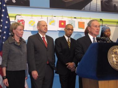 Mayor Michael Bloomberg was joined by Schools Chancellor Cathie Black and United Federation of Teachers President Michael Mulgrew for the announcement Tuesday.
