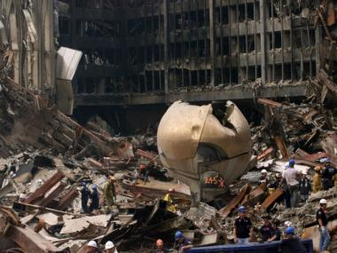 The sphere at Ground Zero, two weeks after 9/11.