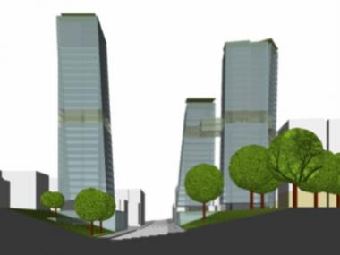 A rendering of the proposed cluster of mixed-use buildings.