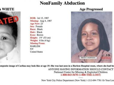 The poster put out by the National Center for Missing & Exploited Children with a baby photo of Carlina White (l.) and an age processed photo.