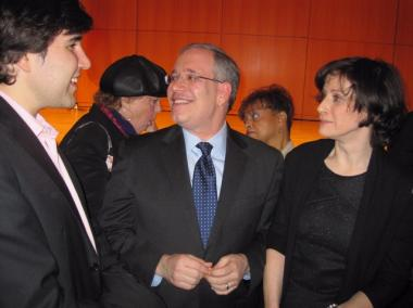 Manhattan Borough President Scott Stringer schmoozes after the speech.