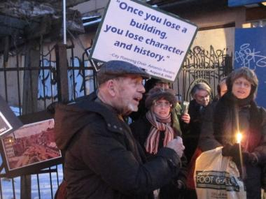 Author Pete Hamill gave remarks at a demonstration outside 35 Cooper Square in February.