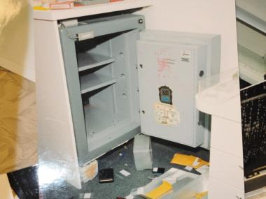 This safe in the office of Atul Shah and Mahaveer Kankariya's jewelry store was part of the robbery authorities say was staged.