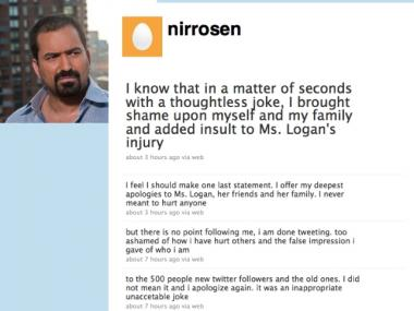 Nir Rosen apologized via Twitter for making insensitive comments about Lara Logan's attack.