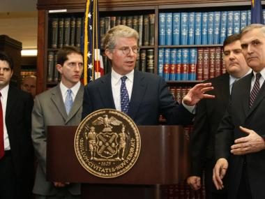 Manhattan DA Cy Vance Jr. delivering a past announcement.