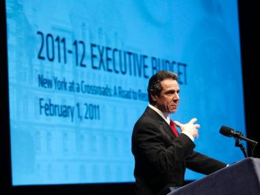 New York Gov. Andrew Cuomo presents his 2011-2012 proposed Executive Budget in Albany, N.Y., on Tuesday, Feb. 1, 2011.