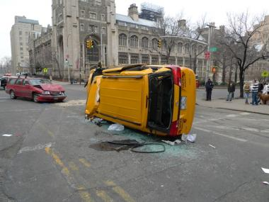 Four people were injured when a cab collided with a Volvo near Columbia University.