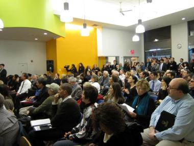 More than 100 people turned out to a town hall meeting on the future of the World Trade Center site Wednesday.