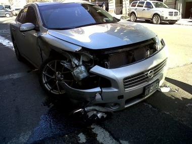 A silver Nissan was involved in a car accident at East 35th Street and Lexington Avenue Tuesday afternoon.