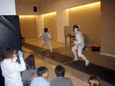 Fencing is one of the only sports that can fit in Millennium's multipurpose room.