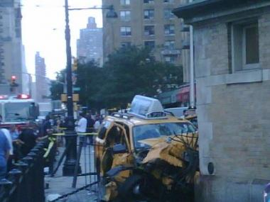 A cab crash in August 2009 destroyed part of a fence at the 72nd Street subway stop. Repair work will start this week.