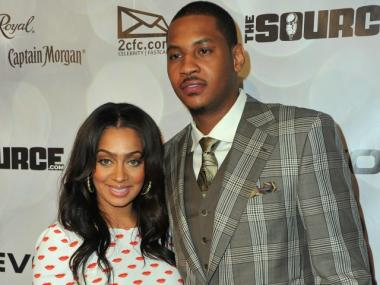 Lala Vazquez and Carmelo Anthony arrive at the National Basketball Players Association All-Star Gala on Feb. 19.