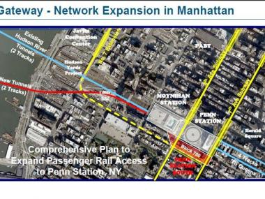 The site of the proposed Penn Station extension.